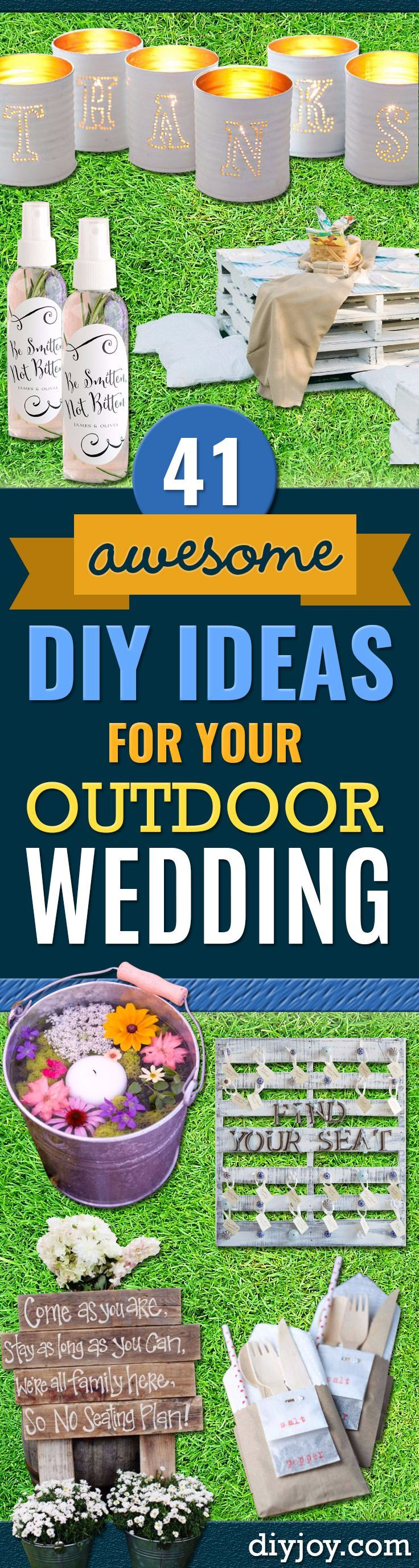 DIY Outdoors Wedding Ideas - Step by Step Tutorials and Projects Ideas for Summer Brides - Lighting, Mason Jar Centerpieces, Table Decor, Party Favors, Guestbook Ideas, Signs, Flowers, Banners, Tablecloth and Runners, Napkins, Seating and Lights - Cheap and Ideas DIY Decor for Weddings http://diyjoy.com/diy-outdoor-wedding