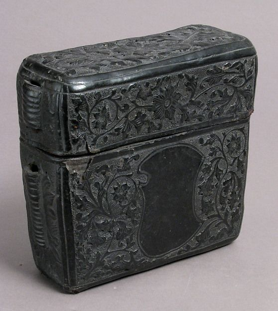 Book Case Date: 15th century Culture: Italian (?) Medium: Leather (Cuir bouilli) Dimensions: Overall: 5 7/8 x 6 1/2 x 2 11/16 in. (15 x 16.5 x 6.8 cm)