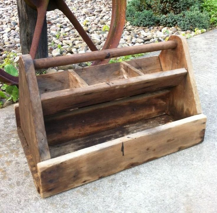 Antique Vtg Wood Carpenter Caddy Tool Box Tote Shabby Rustic Garden Seed Decor