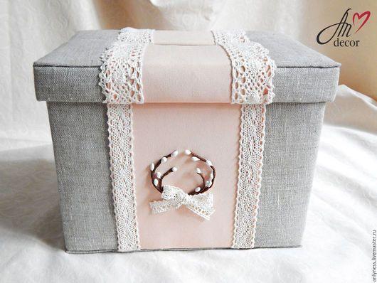 Свадебные аксессуары ручной работы. Ярмарка Мастеров - ручная работа. Купить Сундучок коробка для подарков на свадьбу, свадебная казна Персик. Handmade.