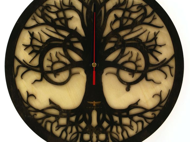 """Handmade Wall Clock """"Tree reflection """"  Unique artistic clock! A perfectly symmetric dark brown tree view on an light brown background. Looks great with all interiors.  This amazing wooden clock is a great decorat  #clock #indigovento #woodclock #woodenclocks #Handmade #HandmadeWallClock"""