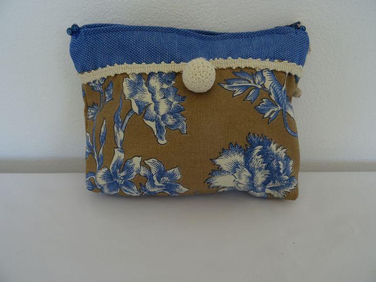 trousse de maquillage vintage toile et toile de Jouy bleu : Trousses par les-tiroirs-de-manine