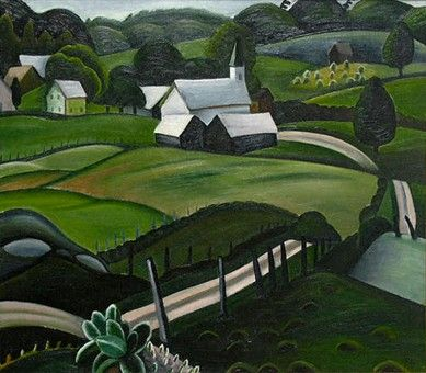 "Prudence Heward (Canadian, 1896-1947), Countryside (probably Rockliffe Village), 1934 Oil on canvas 22"" x 25"", Galerie Alan Klinkhoff"