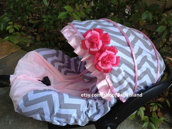 This item include one infant car seat cover with replacement canopy cover, car seat -belt cover and removable flowers. Also include matching blanket and headband. Materials: Gray chevron 100% cotton fabric Pink color part made of fluffy fabric Center part of the Hot Pink seat cover is now
