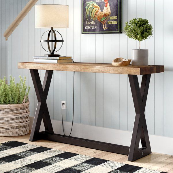 Clean Lines Pair With An Understated Design To Give This Handsome Metal And Wood Console Table A Modern Sofa Table Wood Console Table Industrial Console Tables