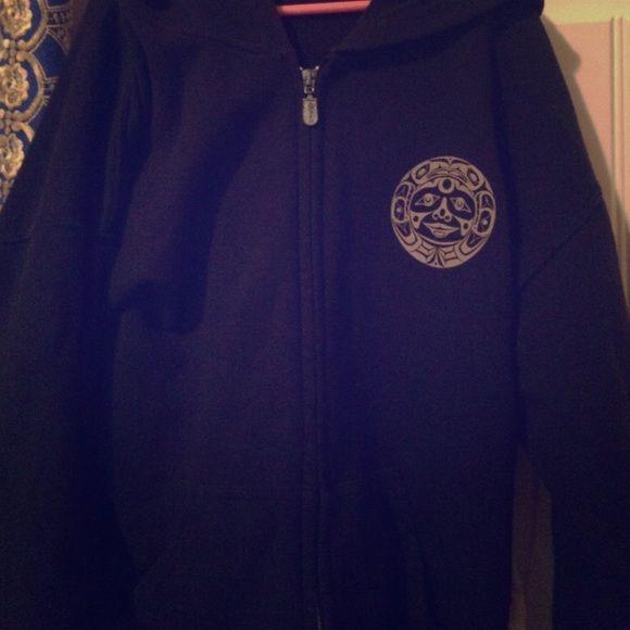 Black zip up hoodie Boho Solid black zip up hoodie with tribal design on the left side (: Native origin Sweaters