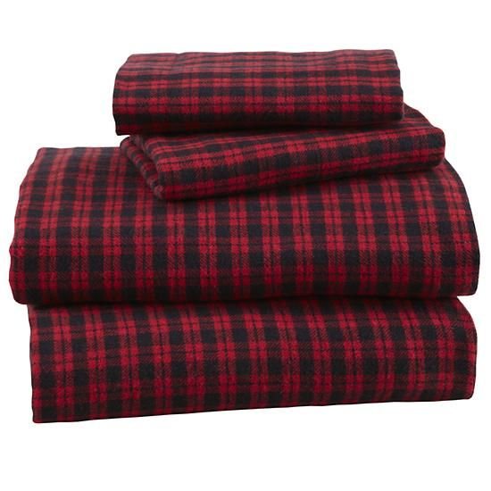 Boys Sheet Set Black And Red Flannel Sheets In Sheet Sets