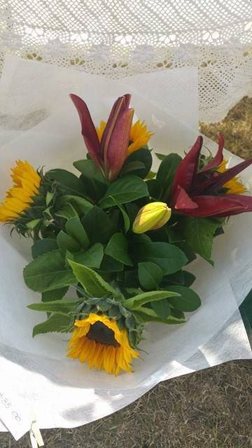 Sunflower and Lily Bouquet   Price: $35.00 excluding delivery.