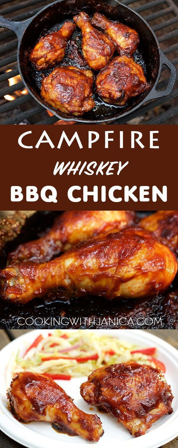 Don't rough it while camping, make this mouth water Campfire Whiskey BBQ Chicken recipe. Make the sauce ahead at home for a hassle free camp…