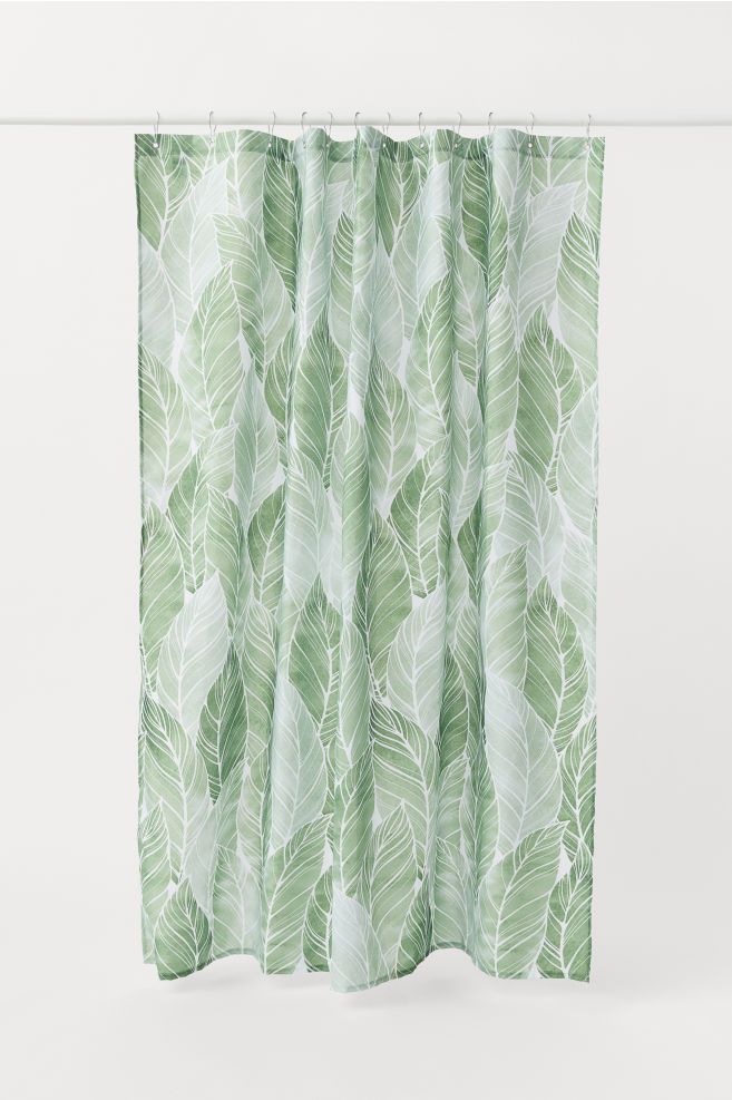 Patterned Shower Curtain Green Leaf Patterned Home All H M