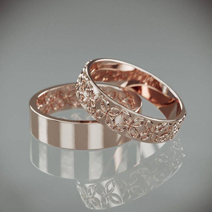 14K Rose Gold Celtic Flower Wedding Rings Set Handmade 14k | Etsy