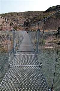 swinging bridge Drumheller, Alberta. A guy rode his bicycle down this bridge while we were on it, and a fight almost broke out! Haha