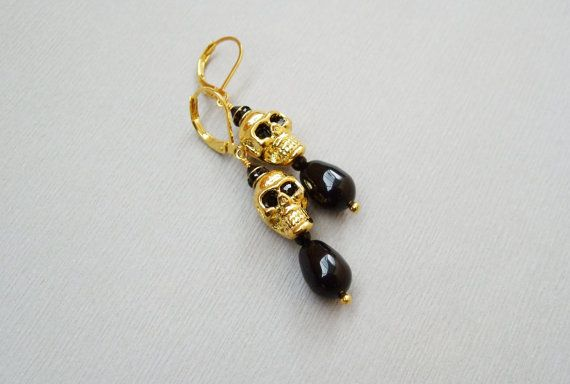 Gold black skull dangle earrings Halloween goth style by DreamyBox