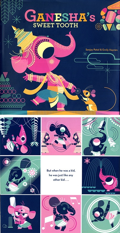 Ganesha's Sweet Tooth, beautiful illustrations.