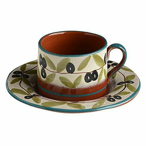 b33d4acaa74a4d Italian Dinnerware Tea Cup with Saucer Handmade in Italy Blue Olive  Collection  Modigliani