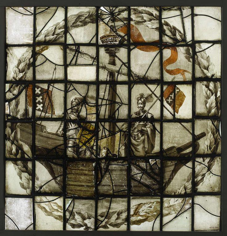 Anonymous   Ruit met twee mannen in koggeschip en vlag met wapen Amsterdam, Anonymous, 1600 - 1699   Groot raam met de afbeelding van twee mannen staande in het koggeschip. Eén draagt de vlag met het wapen van Amsterdam. Opmerking: Heeft dezelfde afbeelding als inv. nr. BK-KOG-230. Behoort tot de serie: BK-KOG-229 t/m 232.
