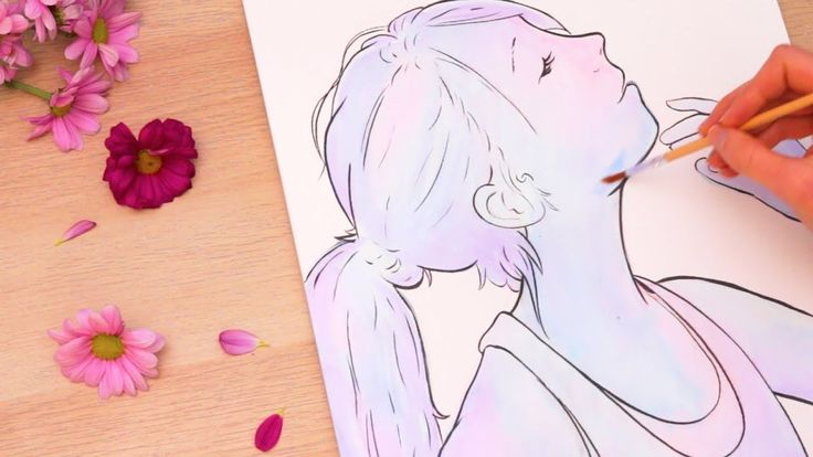 Galaxy Pastel Ink Portrait - YouTube