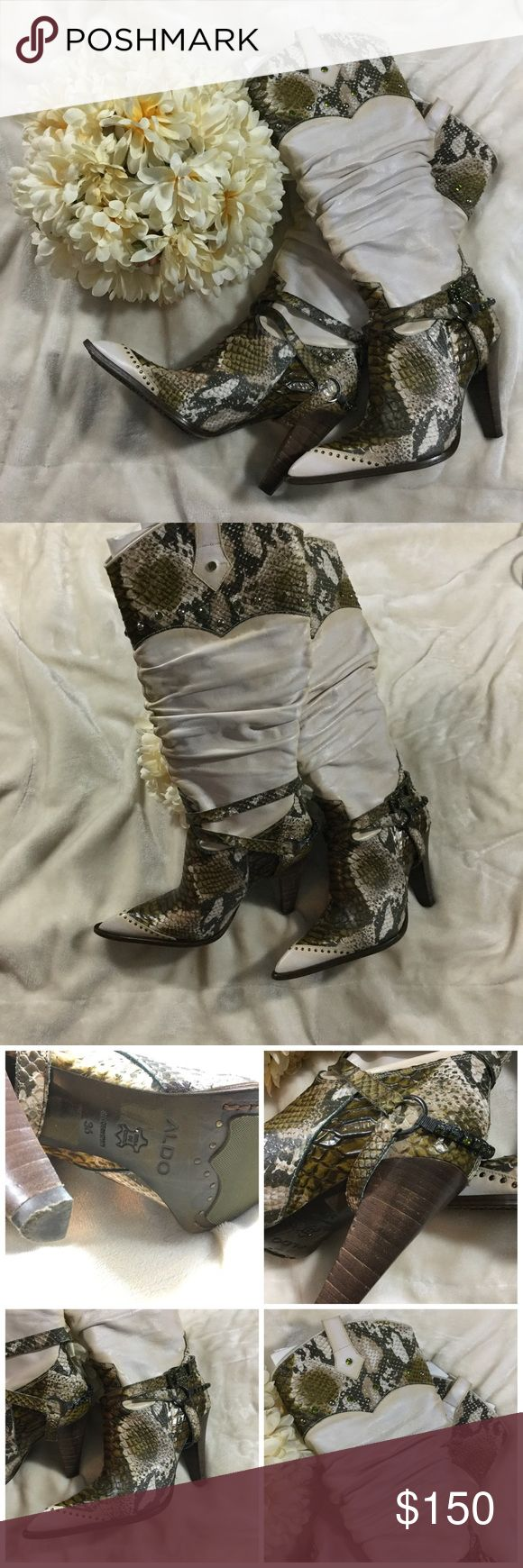 🔥🔥Aldo Edelin Bling Cowboy Boot size (36) 6 Aldo Edelin-32 Green Bling snake skin print cream/ivory cowboy boots GREAT CONDITION /Leather and comes with bottom heel replacements Aldo Shoes Heeled Boots