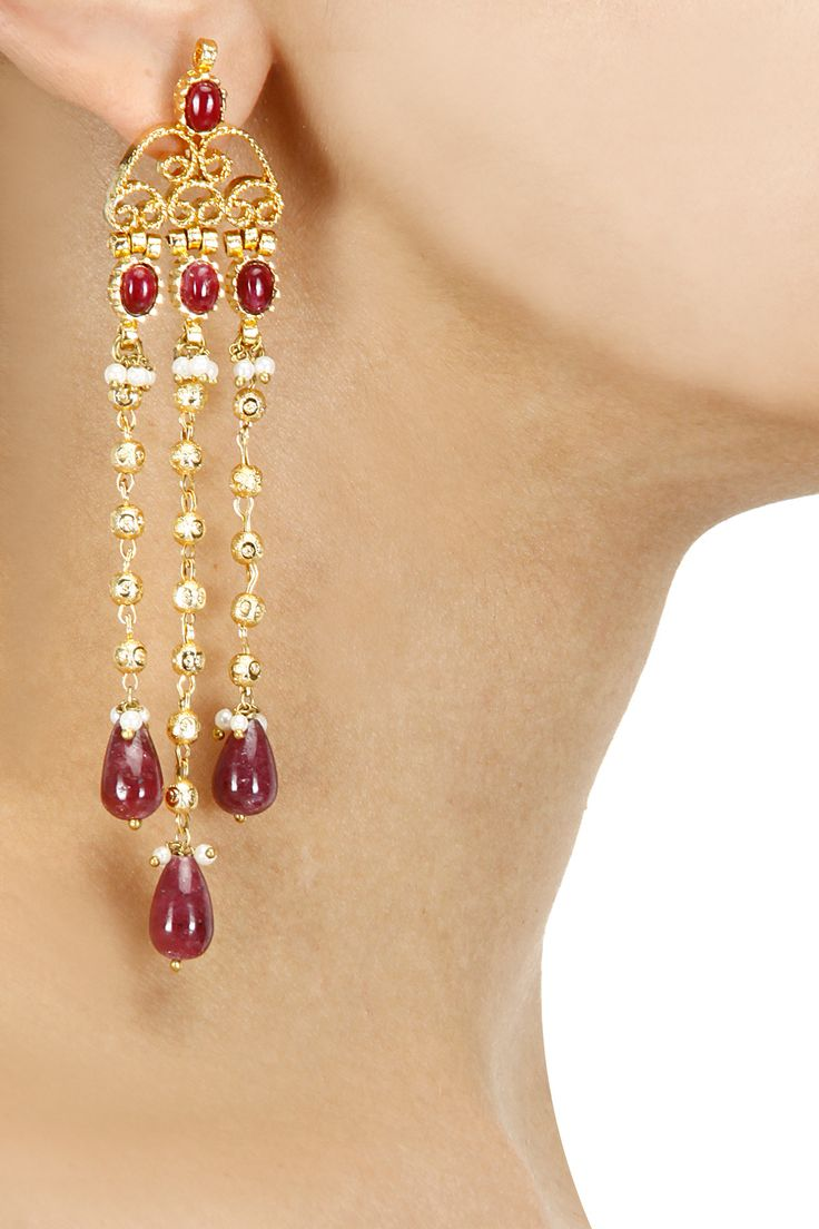 Gold plated beads and ruby maniya fringe earrings available only at Pernia's Pop-Up Shop.