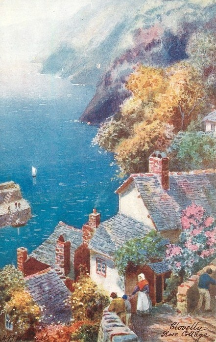 Spectacular View From A Cottage On A Cliff Onto The Cove Of The Little Fishing Village Below ~ Clovelly Rose Cottage.