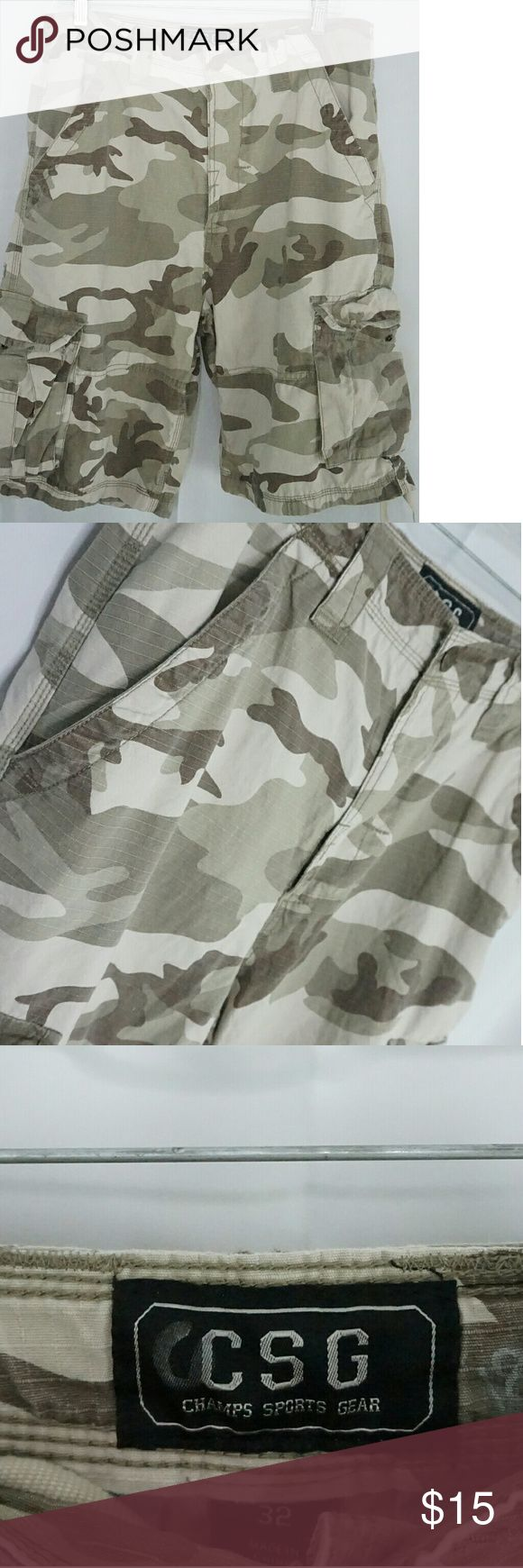 CSG Champs Sports Gear Camouflage Cargo Shorts Item is in good used condition except for a tear in the fabric on the lower front right pocket. Champs Shorts Cargo