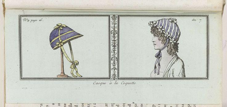 Le Mois, Journal historique, littéraire et critique, avec figures, Tome 2, No. 4 page 16, An. 7 (1798-1799): Casque à la Coquette, anoniem, 1798 - 1799