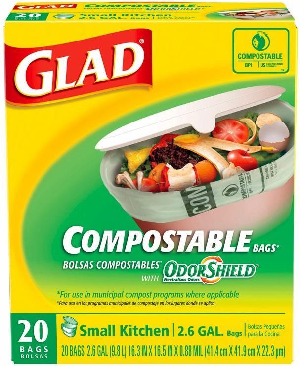 Glad 78797 OdorShield Compostable Bags, White, 2.6 Gallon
