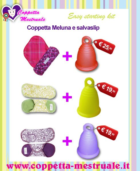 Coppette mestruali e salvaslip: Kit per un easy starting! Menstrual cups and pantyliners: Easy starting kits https://www.coppetta-mestruale.it/meluna.php