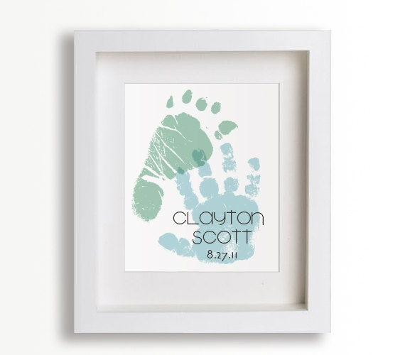 Personalized Hand And Foot Print  8x10 - New Dad, Fathers Day, Personalized Fathers Gift, Children Decor, New Baby, Baptism, Baby Shower.