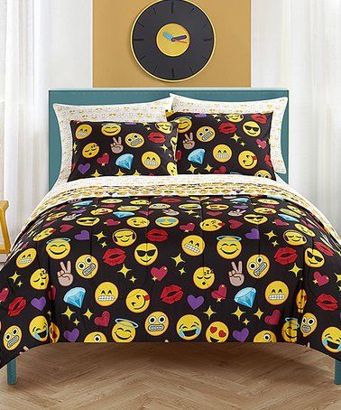 Love this Black & Red Emoji Pals Bling Bed-In-A-Bag Bedding Set on #zulily! #zulilyfinds