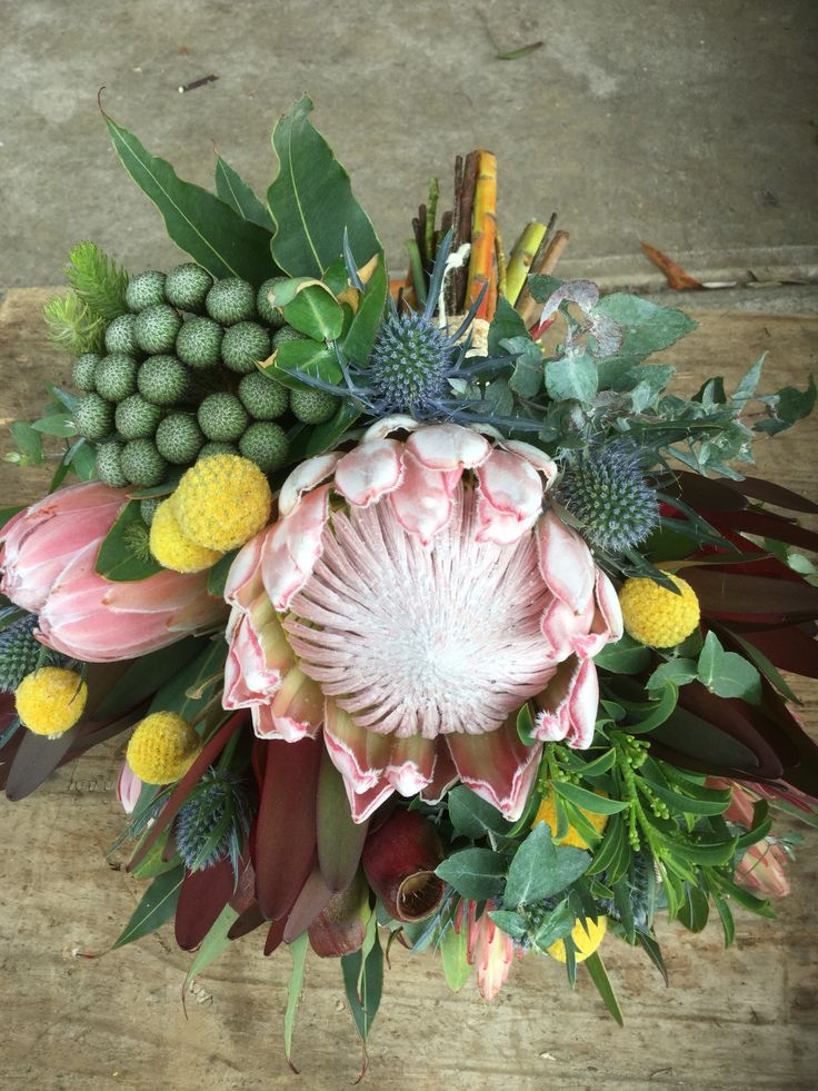 King Protea Billy Buttons Berzillia and more Wedding Bouquets at Peninsula Wild Flower