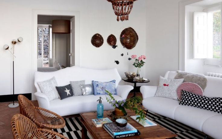 """This bright living room is from our feature """"My Little Sicily"""""""