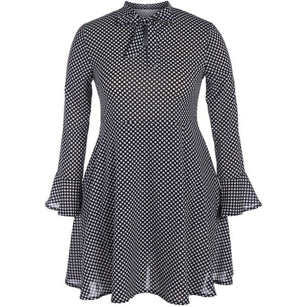 Black XL Bow Tie Plus Size Polka Dot Chiffon Dress ($17) ❤ liked on Polyvore featuring dresses, dots plus size dresses, womens plus dresses, plus size polka dot dress, plus size day dresses and women plus size dresses
