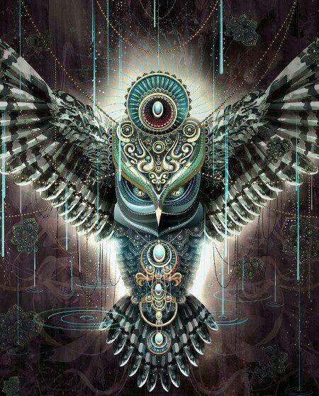 Owl artwork - - - - -  owl with chakras