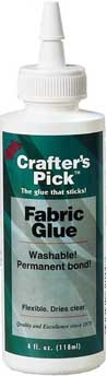 """""""FABRIC GLUE"""" A GREAT permanent fabric glue. Gives a permanent bond to fabrics, is washable, flexible & dries clear. Will not stain most fabrics. May be hand washed one week after finishing project. NON-TOXIC CHILD SAFE"""