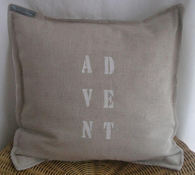 altes LEINEN *ADVENT* Kissenhülle Kissen von The White Suite auf DaWanda.com