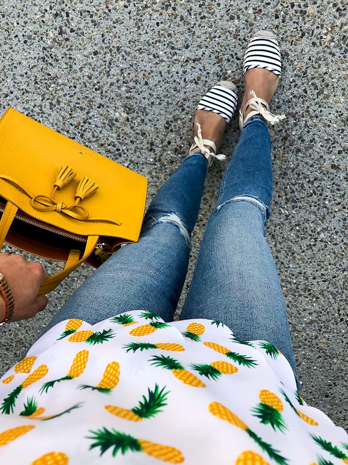 striped espadrilles, pineapple scalloped top, mustard bow purse, petite distressed skinny jeans, spring outfit, casual outfit - click the photo for outfit details!