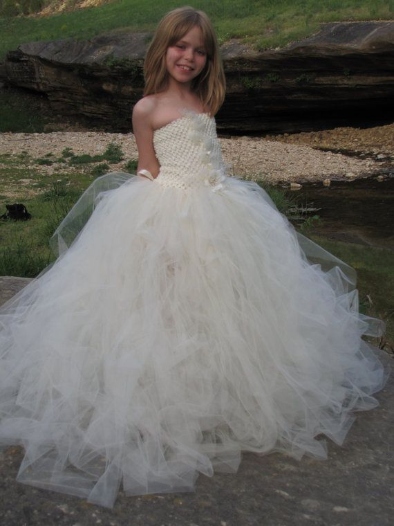 Girls Ivory Tulle flower girl dress, girls flower girl ...