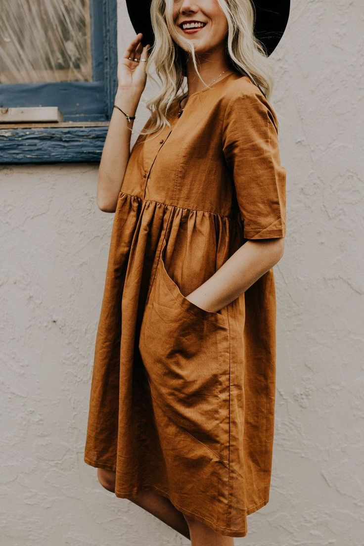 Linen Dress with Large Pockets | ROOLEE