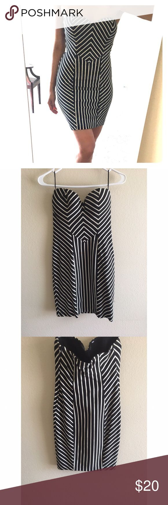 Guess dress Black and white striped cocktail dress Guess Dresses Mini