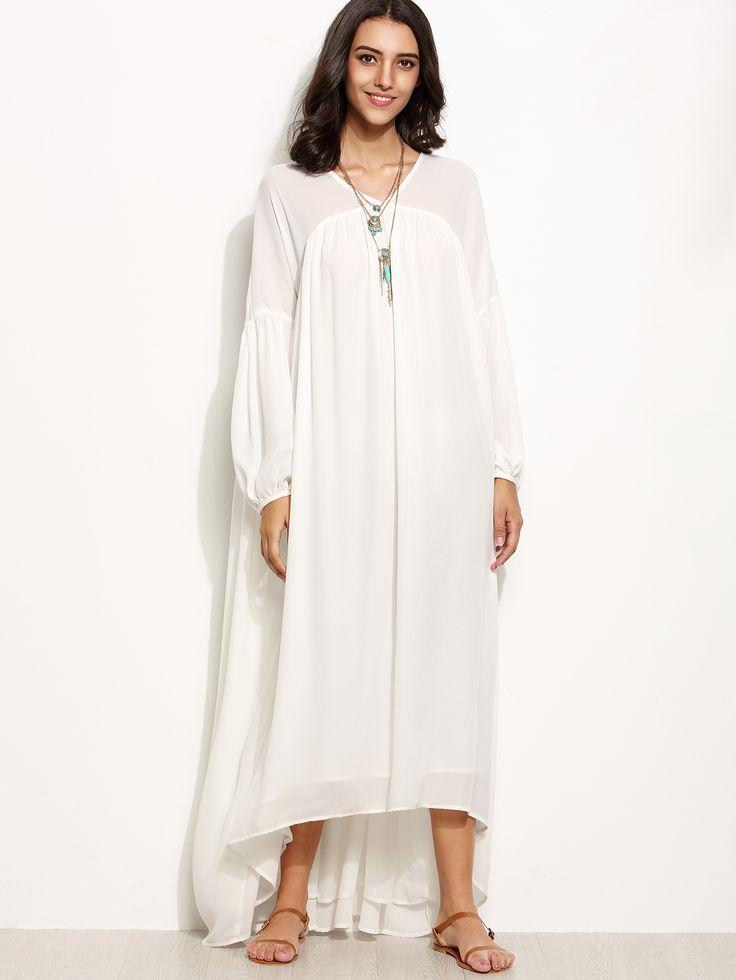 Vestido asimétrico manga farol, blanco (Sheinside. 26,70€)