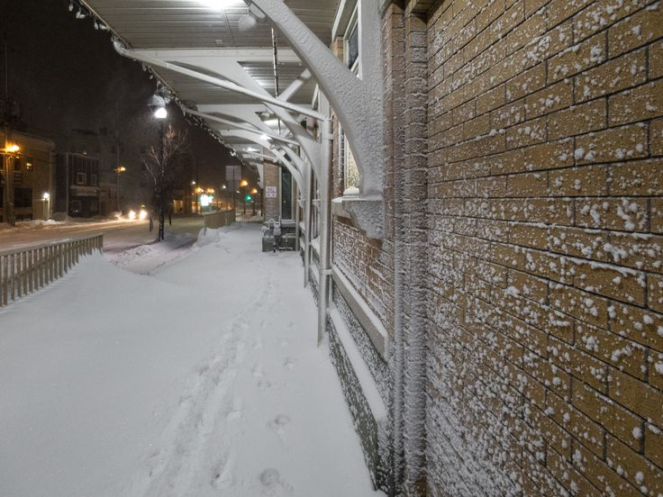 Timmins bus station with snow sticking to walls.