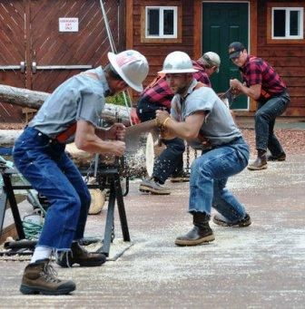 Speed Sawing at the Ketchikan Lumberjack Show