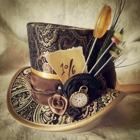 "4"" top hat - Steampunk, Dieselpunk, Victorian, Tea Party, Lolita, Rockabilly, Retro, Kitsch, Mad Hatter, Alice in Wonderland, Tim Burton"