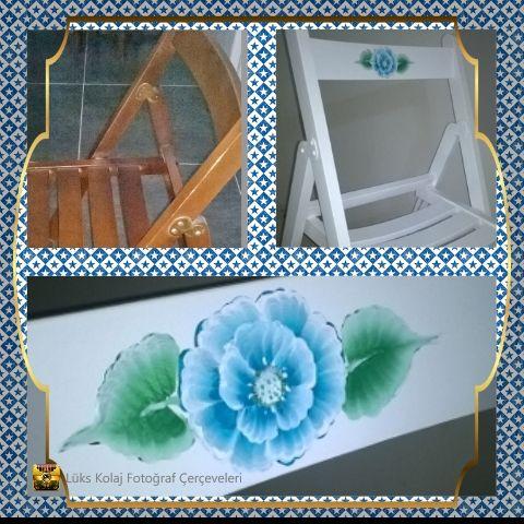 eski sandalye yi yeniledim..#ahşap #boyama beyaz a boyadıktan sonra one stroke gul ekledim.#onestroke#gul