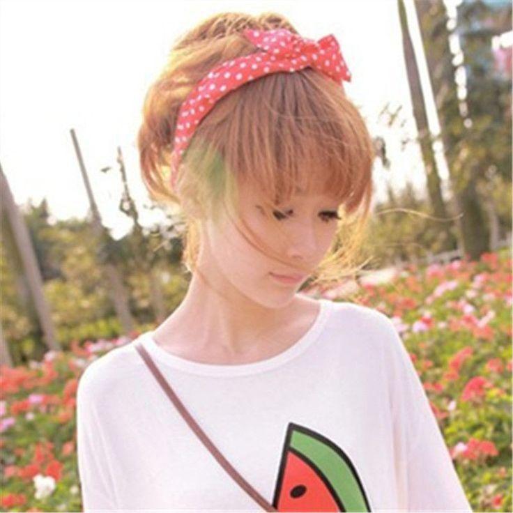 Cute Korean Dots Bunny Rabbit Ear Ribbon Headwear Hairband Metal Wire Scarf Headband Hair Band Accessories
