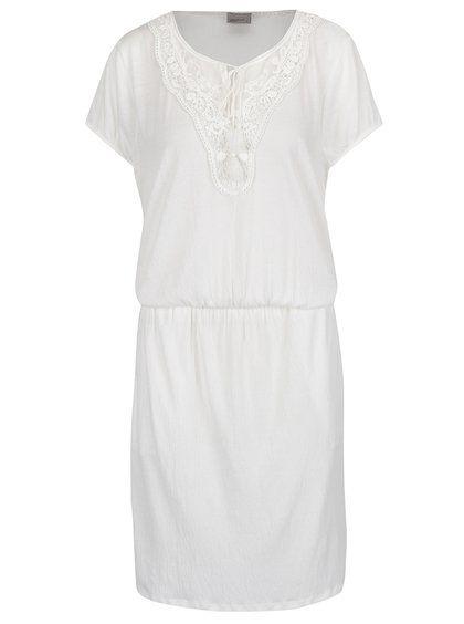 Krémové šaty s čipkovanými detailmi VERO MODA Matea