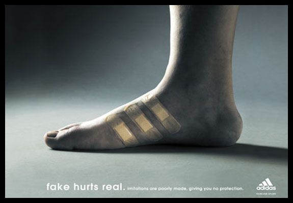 really cool way to show the brand (3 stripes) but show that they have better quality made shoes