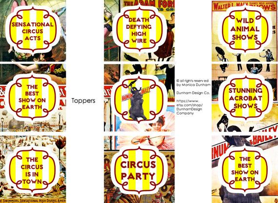 CIRCUS Printable Toppers, Tent Cards, & Favor Box {INSTANT DOWNLOAD} Dunham Design Company