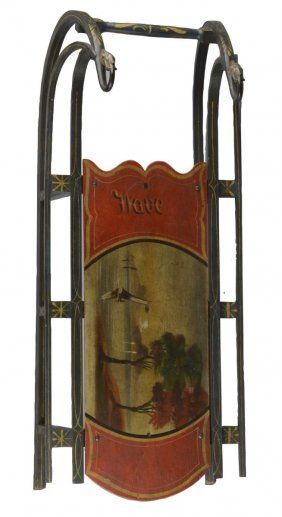 Antique 1890s Child's Painted Sled